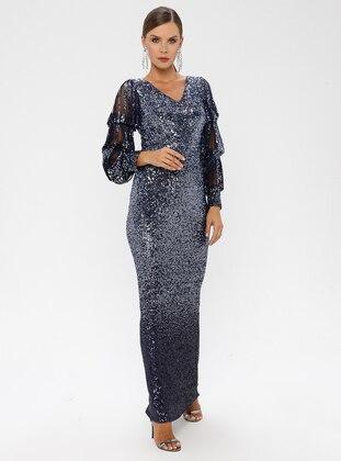 Navy Blue - Fully Lined - V neck Collar - Muslim Evening Dress