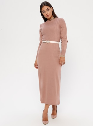 Dusty Rose - Crew neck - Unlined - Acrylic -  - Dress