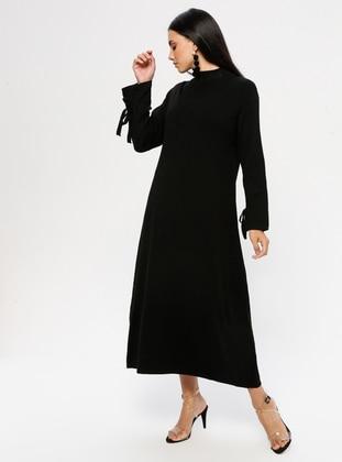 Black - Polo neck - Unlined - Acrylic -  - Dress
