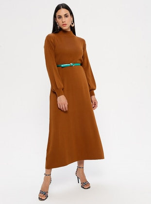 Tan - Polo neck - Unlined - Acrylic -  - Dress