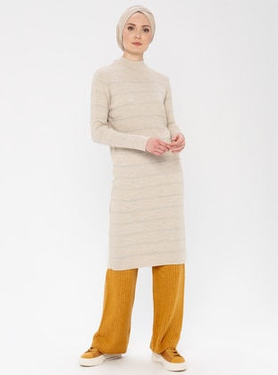 Beige - Stripe - Polo neck - Acrylic -  - Tunic