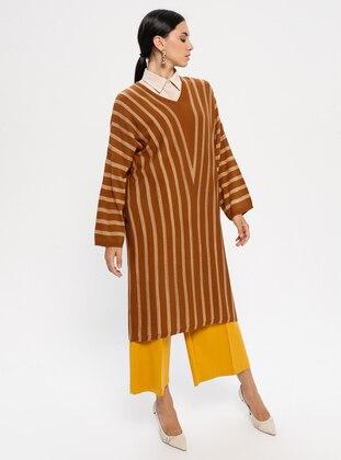 Tan - Stripe - V neck Collar - Acrylic -  - Tunic