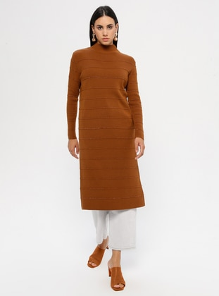 Tan - Stripe - Polo neck - Acrylic -  - Tunic