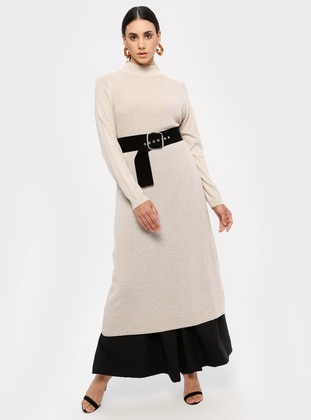 Beige - Polo neck - Unlined - Acrylic -  - Dress