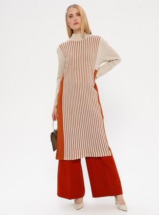 Copper - Beige - Terra Cotta - Stripe - Polo neck - Unlined - Acrylic -  - Dress