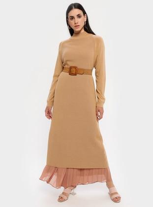 Camel - Polo neck - Unlined - Acrylic -  - Dress