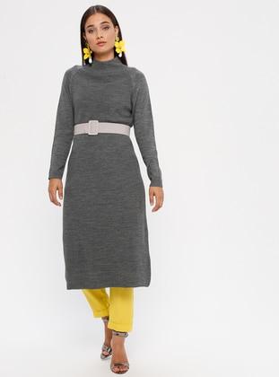 Gray - Polo neck - Unlined - Acrylic -  - Dress