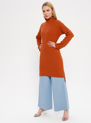 Terra Cotta - Polo neck - Unlined - Acrylic -  - Tunic