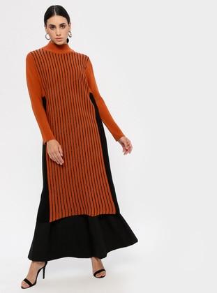 Terra Cotta - Stripe - Polo neck - Unlined - Acrylic -  - Dress