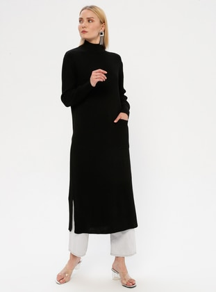 Black - Polo neck - Unlined - Acrylic -  - Dress - MY CITY