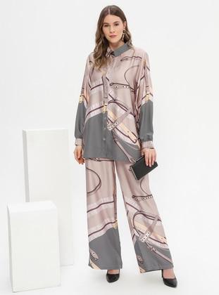 Mink - Multi - Point Collar - Unlined - Plus Size Suit