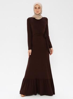 Brown - Crew neck - Unlined - Viscose - Dress