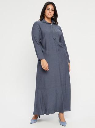 Indigo - Blue - Unlined - Point Collar - Muslim Plus Size Evening Dress
