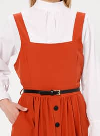 Ecru - Terra Cotta - Polo neck - Unlined -  - Dress