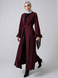 Plum - Unlined - V neck Collar - Topcoat