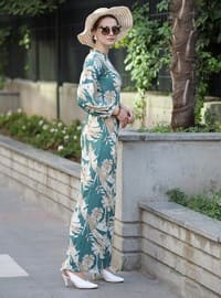 Mint - Stone - Floral - Unlined - Crew neck - Jumpsuit