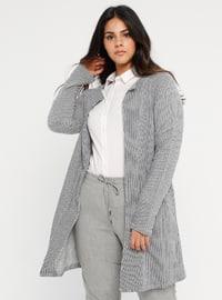 Gray - Stripe - Unlined - Shawl Collar -  - Jacket