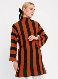 Terra Cotta - Stripe - Polo neck - Acrylic -  - Tunic