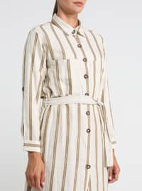 Mink - Stripe - Point Collar - Tunic