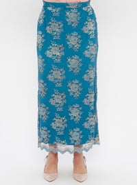 Blue - Fully Lined - Plus Size Skirt