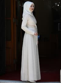 Cream - Fully Lined - Crew neck - Muslim Evening Dress