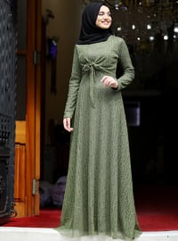 Olive Green - Fully Lined - Crew neck - Muslim Evening Dress