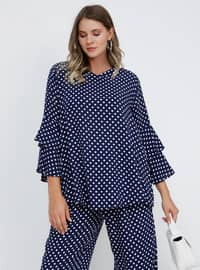 Navy Blue - Polka Dot - V neck Collar - Viscose - Plus Size Blouse