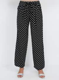 Black - Polka Dot - Viscose - Plus Size Pants