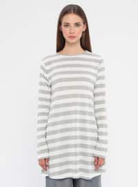 Gray - Stripe - Crew neck -  - Tunic