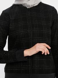 Black - Plaid - Unlined - Crew neck -  - Jacket