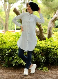 Baby Blue - Stripe - Point Collar - Cotton - Acrylic - Blouses
