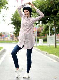 Maroon - Stripe - Point Collar - Cotton - Acrylic - Blouses
