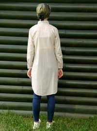 Camel - Stripe - Point Collar - Cotton - Acrylic - Blouses