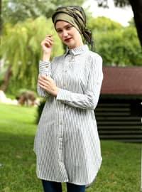Khaki - Stripe - Point Collar - Cotton - Acrylic - Blouses