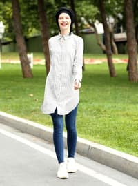 Black - Stripe - Point Collar - Cotton - Acrylic - Blouses
