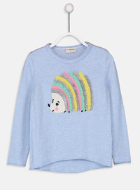 Printed - Crew neck - Blue - Girls` Pullovers