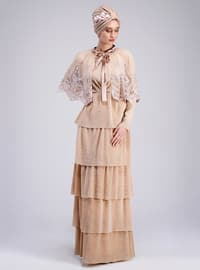 Nude - Fully Lined - Muslim Evening Dress