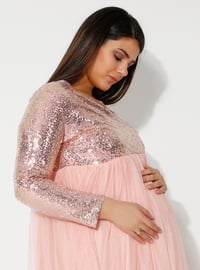 Powder - Fully Lined - V neck Collar - Maternity Evening Dress