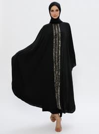 Noir - Tissu non doublé - Col boutonné - Abaya