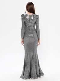 Gray - Silver tone - Fully Lined - V neck Collar - Muslim Evening Dress