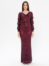 Plum - Fully Lined - V neck Collar - Muslim Evening Dress
