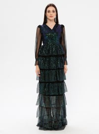 Black - Green - Fully Lined - V neck Collar - Muslim Evening Dress