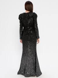 Black - Fully Lined - V neck Collar - Muslim Evening Dress