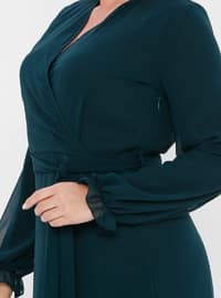 Green - Fully Lined - V neck Collar - Muslim Plus Size Evening Dress