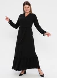 Black - Fully Lined - V neck Collar - Muslim Plus Size Evening Dress