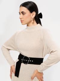 Beige - Polo neck - Unlined - Acrylic -  - Dress