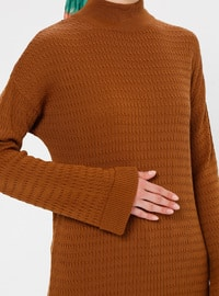 Tan - Polo neck - Unlined - Acrylic -  - Tunic