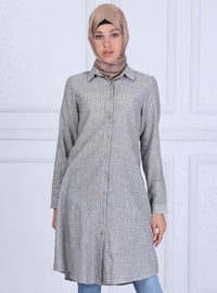 Black - Stripe - Point Collar - Tunic