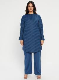 Indigo - Blue - Stripe - Crew neck - Unlined - Plus Size Evening Suit