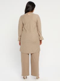 Stone - Stripe - Crew neck - Unlined - Plus Size Evening Suit